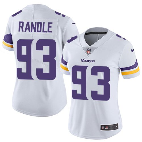 Nike NFL John Randle White Jersey Women's Limited: #93 Minnesota Vikings Road Vapor Untouchable