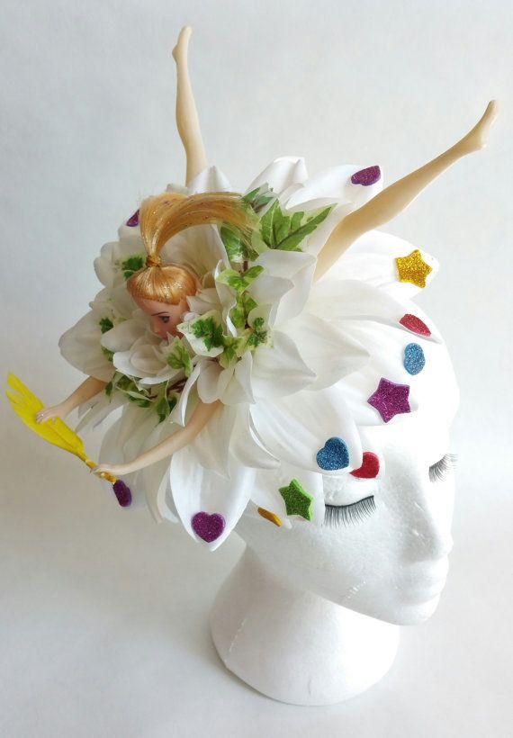 Dolls Head Floral Glitter Headband Fascinator