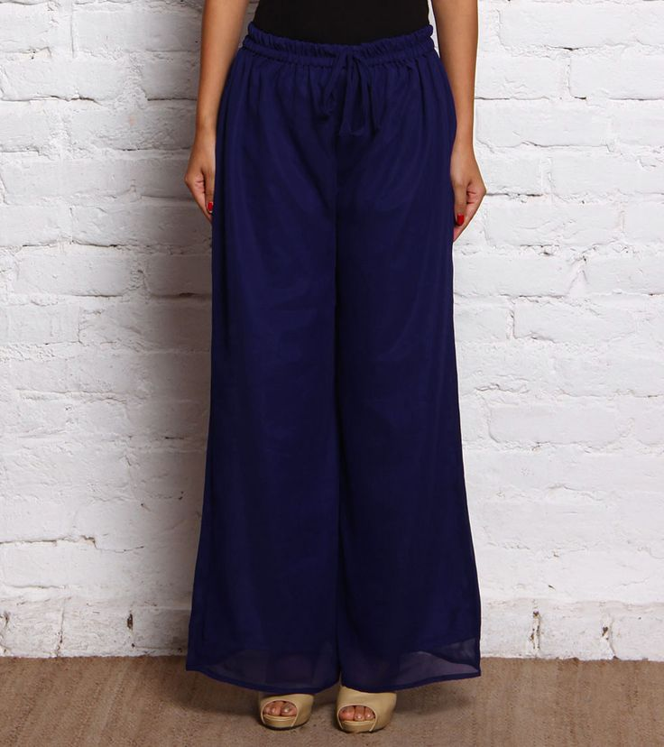 Blue Georgette Palazzos #indianroots #fusionwear #palazzos #georgette