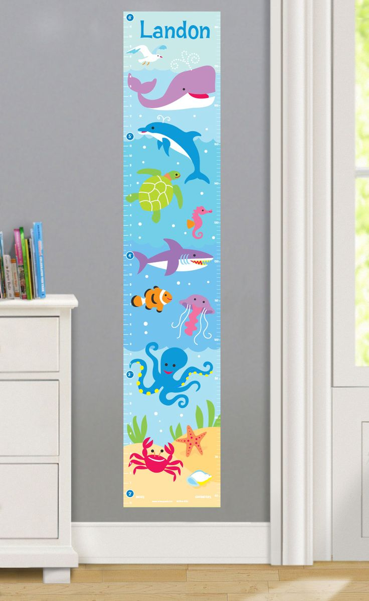 Features:  -Ocean collection.  -Printed on woven polyester fabric.  Product Type: -Growth chart.  Theme: -Nautical.  Color: -Multi-colored.  Gender: -Neutral.  Life Stage: -Baby/Kid.  Primary Material