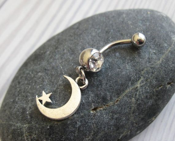 Moon Belly Button Ring - Navel Ring - Belly Ring - Belly Button Jewelry - Navel Jewelry - Body Jewelry - Body Piercing - Navel Piercing