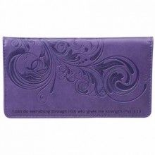 Checkbook Cover-I Can Do Everything-Purple