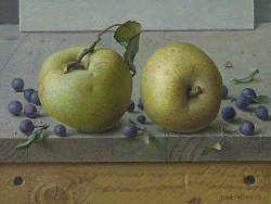 Twee appels | schilderij van een stilleven met fruit in olieverf van Joke Frima | Exclusieve kunst online te koop in de webshop van Galerie Wildevuur