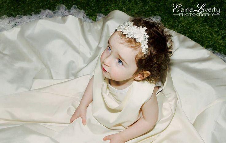 My little girl wearing my wedding dress