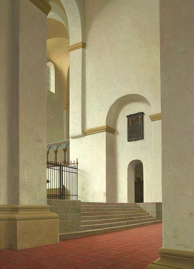 Henk Helmantel 1945  Het koor van O.L.V. Kerk in Halberstadt, Duitsland  Olieverf op paneel  122 x 100 cm, 2008