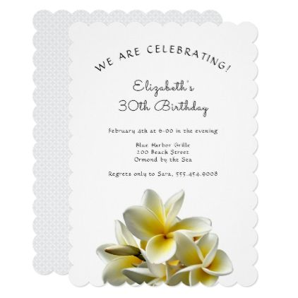 #Hawaiian Yellow Plumeria Birthday Party Invitation - #birthday #gifts #giftideas #present #party