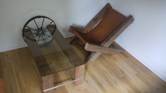 Reclaimed Wood and Glass Coffee Table. Barn Wood by TicinoDesign
