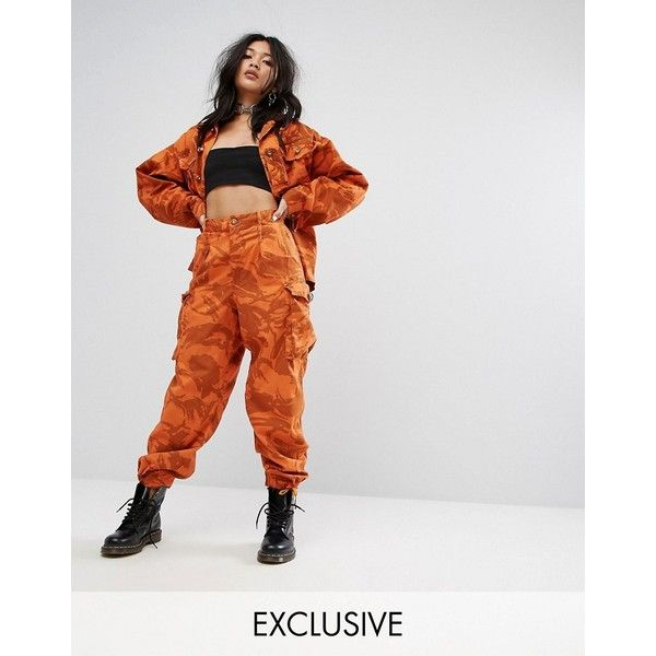 Milk It Vintage Overdyed Military Pants In Camo ($71) ❤ liked on Polyvore featuring pants, orange, high waisted trousers, jersey pants, military camouflage pants, cuffed pants and high-waist trousers