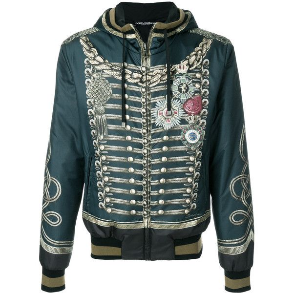 Dolce & Gabbana Zipped Jacket ($2,035) ❤ liked on Polyvore featuring men's fashion, men's clothing, men's outerwear, men's jackets, green, mens hooded jackets, mens urban jackets, mens zip jacket, mens military jacket and mens zipper jacket