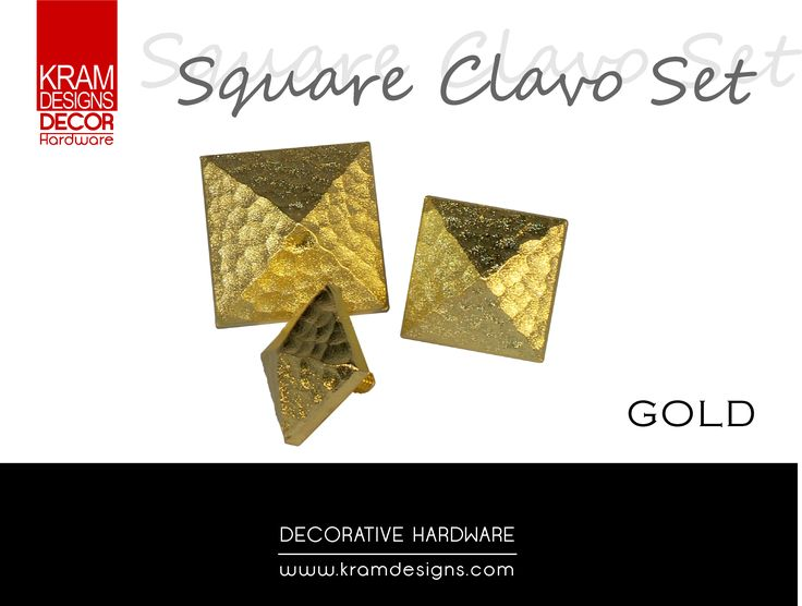 Brass Clavo Square Studs from Kram Designs Decor Hardware.