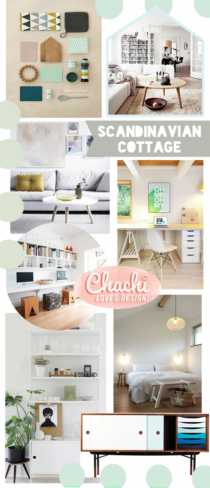 Scandinavian Cottage Inspiration Board // Guest House Redesign Project by Chachi Loves Design, Los Angeles // Modern, family friendly, kid friendly living room, home office ideas // for sources visit: chachilovesdesign.tumblr.com
