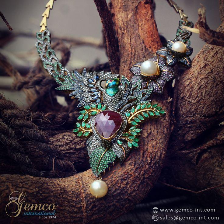Victorian Bird Necklace  Pave Set Diamonds & Gemstone Designer Victorian Bird Necklace Jewelry