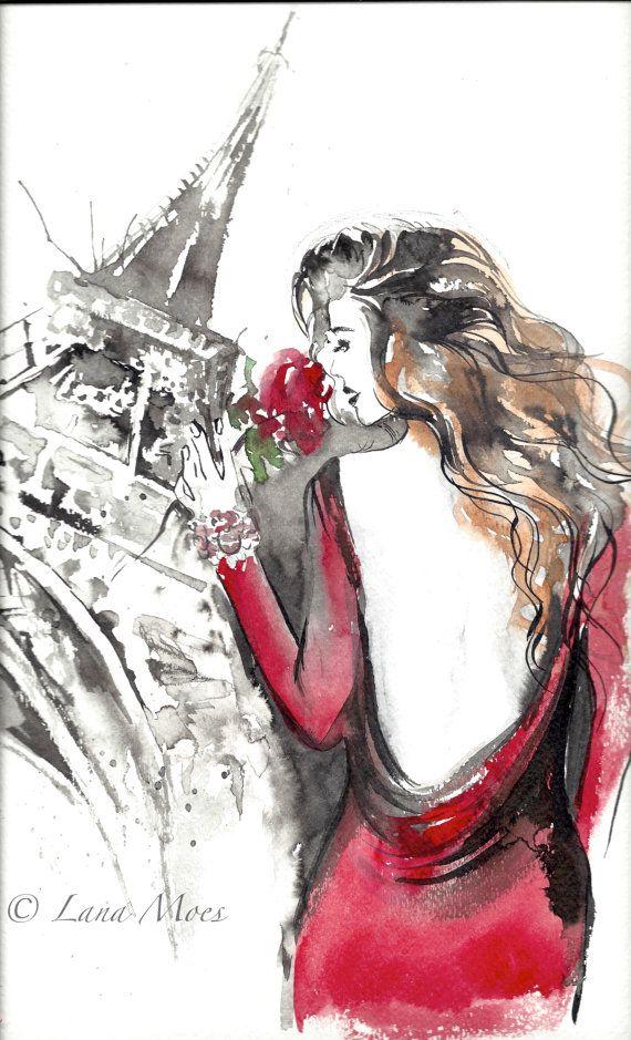 Parisian Girl Paris Je T'aime Fashion Print Watercolor by LanasArt