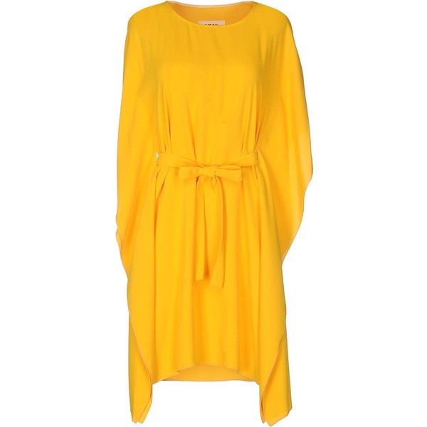 Mm6 By Maison Margiela Short Dress ($255) ❤ liked on Polyvore featuring dresses, yellow, short dresses, short-sleeve maxi dresses, short sleeve dress, short yellow dress and short-sleeve dresses