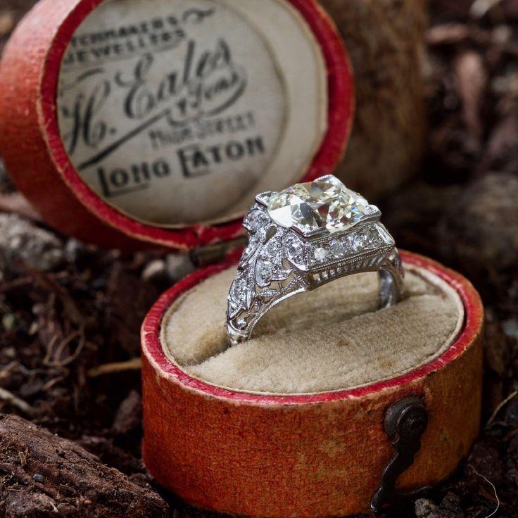 Filigree Art Deco Engagement Ring 2.7 Carat Old Euro Diamond