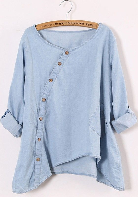 Blue Round Neck Long Sleeve Loose Denim Blouse:
