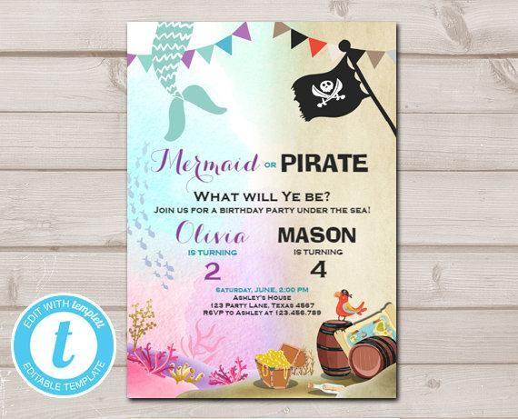 Mermaid Or Pirate Birthday Invitation