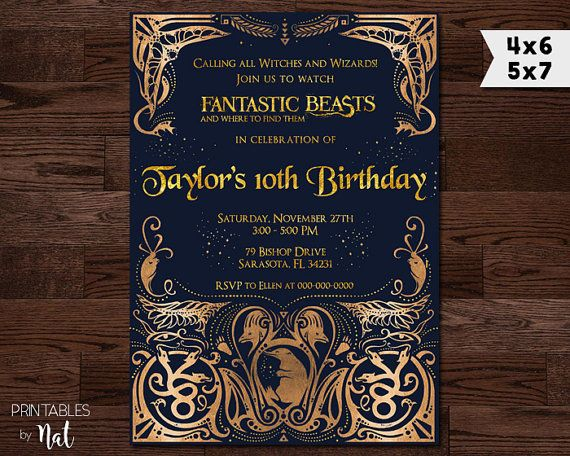 fantastic beasts and where to find them invitation  harry