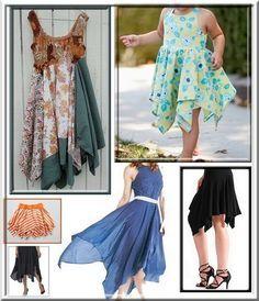 Le tutoriel pour faire la jupe cloche à pointes foulard avec ceinture rapportée, taille élastique ou en bas de tunique, robe ou veste.