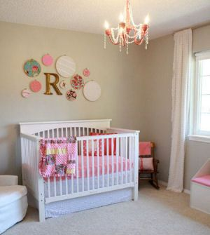 watermelon pink and gray baby girl nursery decor