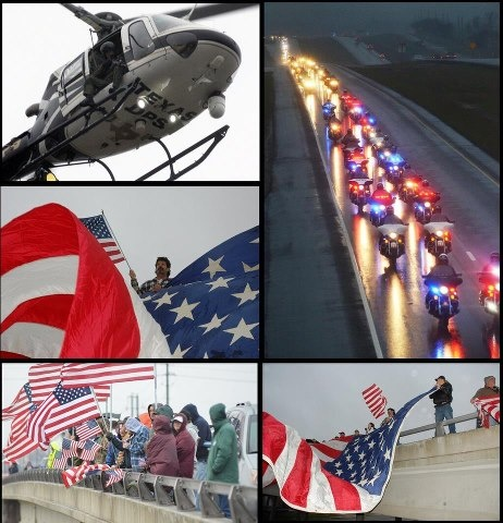 Incredible images of Chris Kyle's funeral procession February 12, 2013, as it travels down Interstate 35 to Austin, Texas. Every overpass for 200 miles was packed with Americans waving the American Flag. Patriot Freedom Riders followed behind the family. Chris Kyle was a United States Navy SEAL and the most lethal sniper in American military history. (April 8, 1974 – February 2, 2013) A memorial service was held at Dallas Cowboys Stadium (Credit: Scott Dorsett)