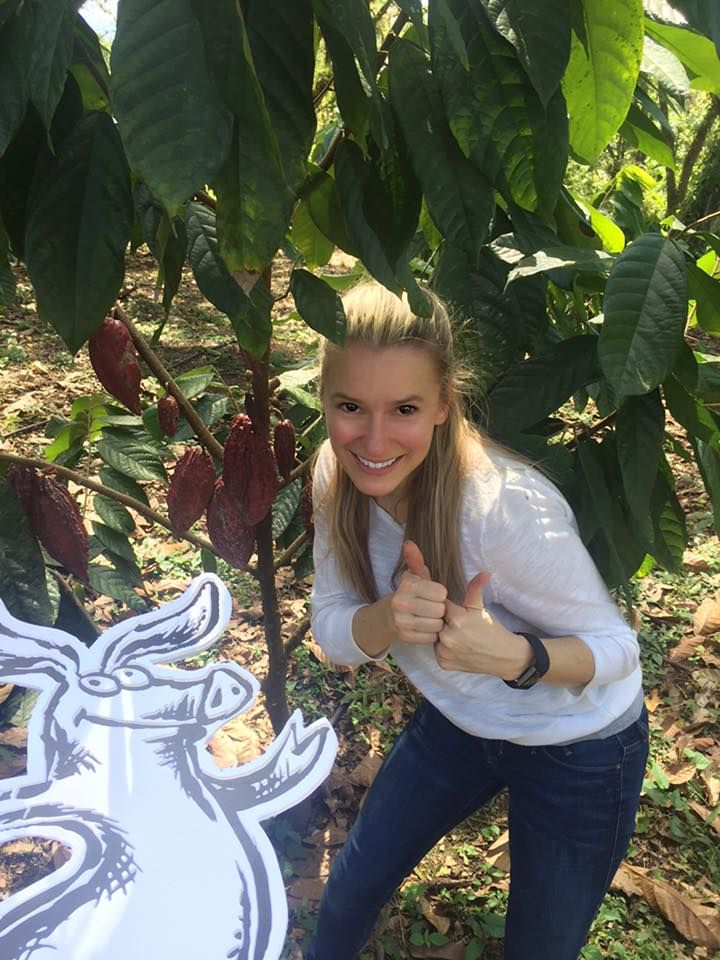 Truffle Pig and The Chocolate Princess embarking on #sweeteningtheworld by going Direct Trade for our cocoa in Central America! Posing with the highest quality heirloom cocoa pods!