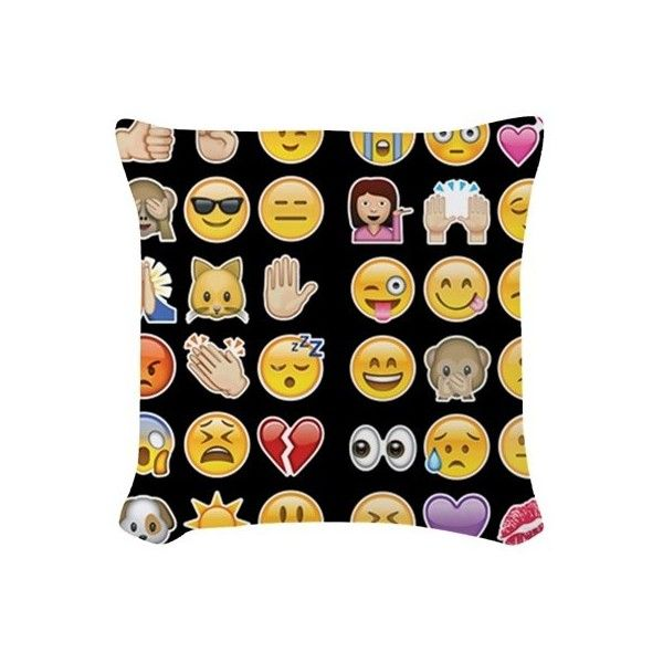 black emoji Woven Throw Pillow (32 AUD) ❤ liked on Polyvore featuring home, home decor, throw pillows, pillows, pray, square throw pillows, black throw pillows, black home accessories, woven throw pillows and black home decor