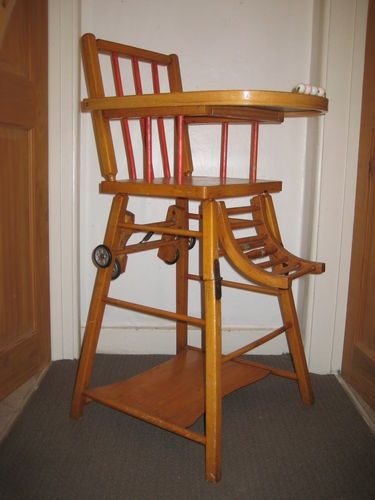 Vintage Metamorphic Baby Wooden High Chair Turns Into A