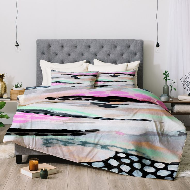 Laura Fedorowicz Rolling Abstract Lilac and Mint Comforter | Deny Designs
