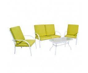 www.sconticasa.it  Set sofà Pandora con struttura in acciaio composto da : un divanetto,due poltrone e un tavolino con vetro temperato  Sia la seduta che lo schienale presentano cuscini imbottiti  Colore Verde Chiaro