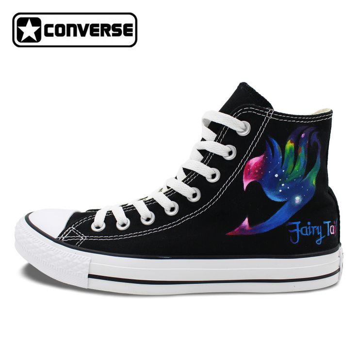 Anime Galaxy Fairy Tail Natsu Design Converse Chuck Taylor Mens Womens Shoes Hand Painted Sneakers High Top Christmas Gifts #Affiliate