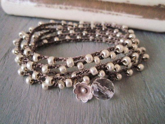 "Silver crochet wrap bracelet necklace ""The Essential Silver Bohemian Wrap"", Thai silver flower, long boho chic wrap jewelry"