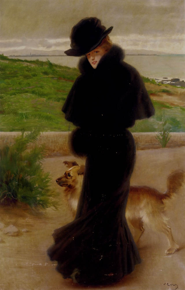 Corcos, Vittorio (1859-1933) - An elegant lady with her faithful companion