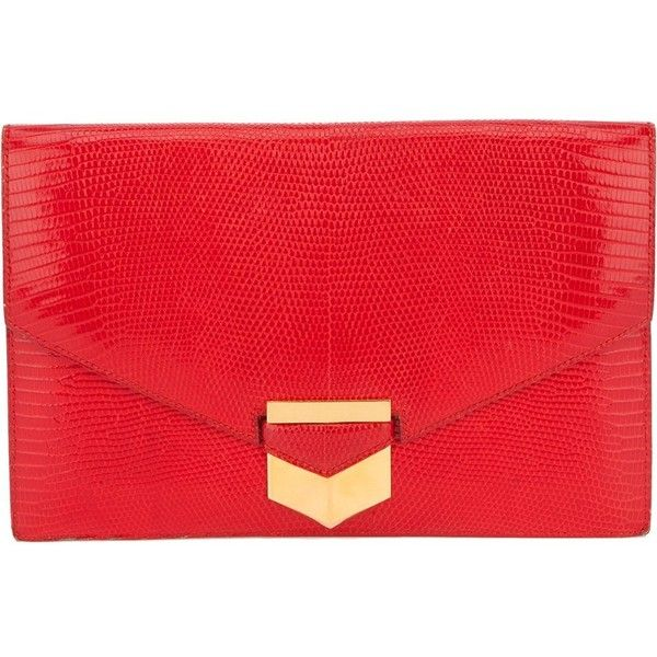 Hermès Vintage lizard skin envelope clutch found on Polyvore featuring bags, handbags, clutches, bolsa, borse, red, red handbags, hand bags, hermes purse and clasp purse