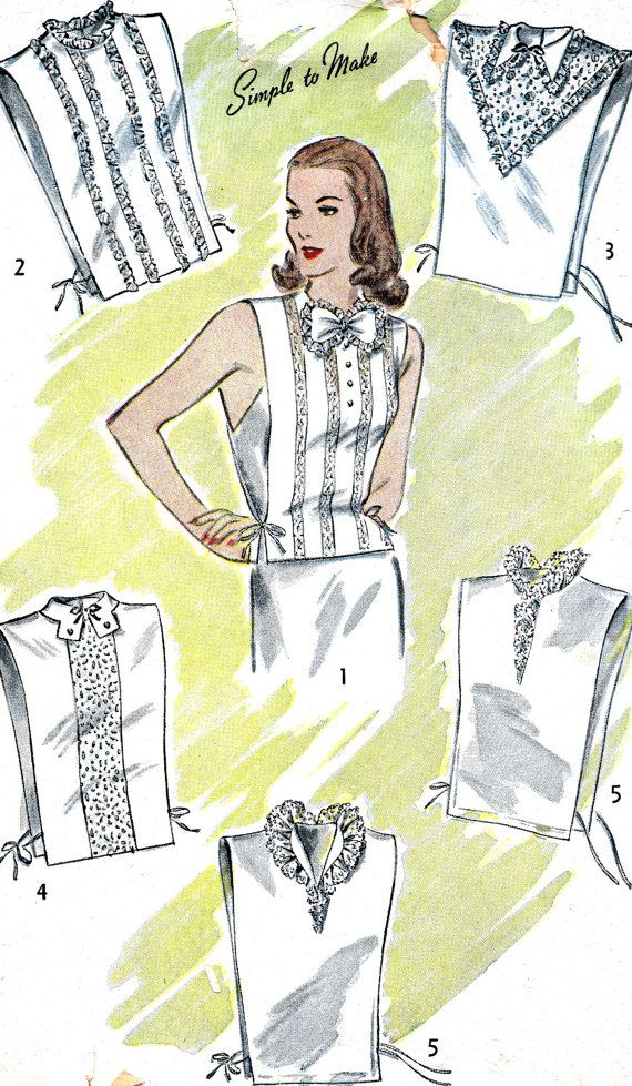 Vintage Sewing Pattern 1940s Women's Lace Dickey by paneenjerez, $16.00