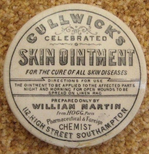 Cullwick's Celebrated Skin Ointment Pot Lid c.1893