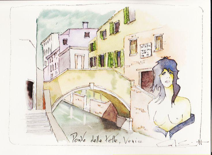 Ponte dellle Tette, Venice; pen and wash