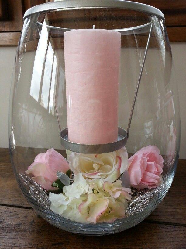 Lampe créativité Partylite, décorée pour le mariage de ma fille: le code couleur rose et gris. https//sylviebarale.partylite.fr