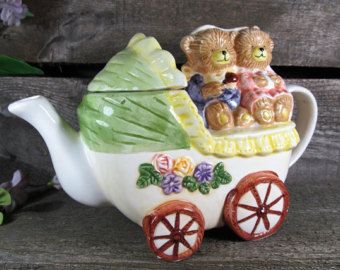 Hard To Find Tea Pot 3 Teddy Bears in Baby Carriage, With Makers Mark, Hand Crafted Collectible, Vintage Kitchen & Restaurant Decor, On Sale