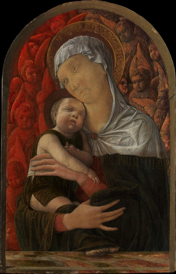 Andrea Mantegna (1431 - 1506) -  Madonna and Child with Seraphim and Cherubim, ca. 1460, Tempera and gold on wood, Arched top, 17 3/8 x 11 1/4 in. (44.1 x 28.6 cm),  The Metropolitan Museum of Art, New York