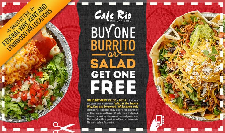 Cafe Rio Buy One Get One FREE Coupon