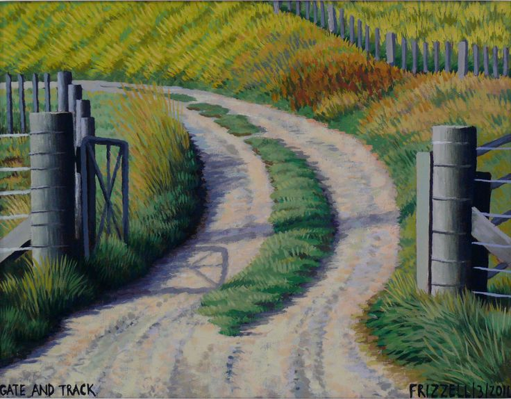 Dick Frizzell, 2014, Gate and Track, acrylic on canvas, 470x570mm