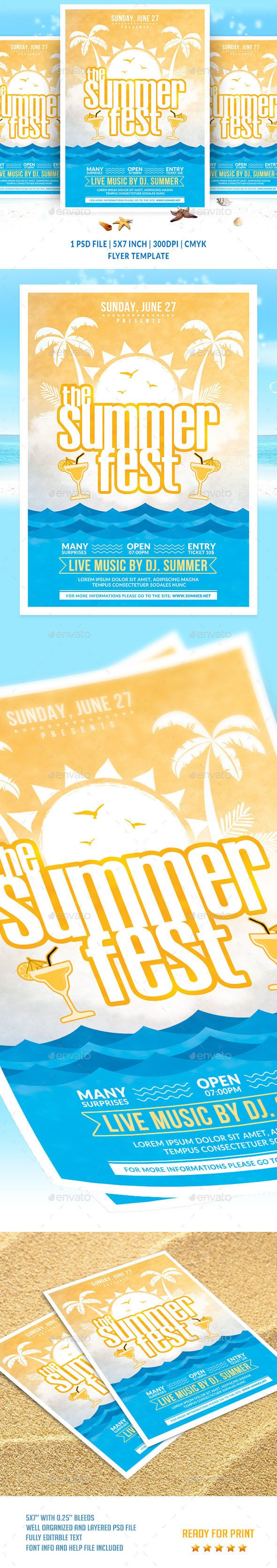The #Summer Fest #Flyer Template - Clubs & Parties #Events Download here: https://graphicriver.net/item/the-summer-fest-flyer-template/20144865?ref=alena994
