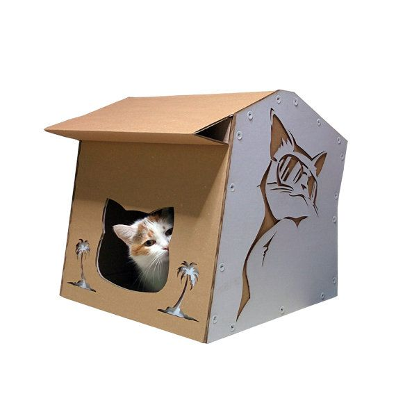 Cool Summer Cardboard Cat House,Unique Cat Furniture,Helloween Furniture,Cat Toy,Cat Bed,Cat Cave,Cat Condo,Cat Gift,Items For Cats