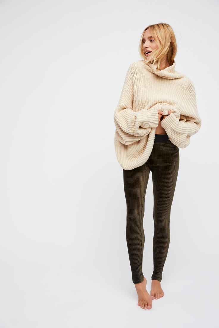 Army Combo Here We Go Striped Velvet Legging at Free People Clothing Boutique