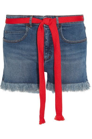 Sonia Rykiel - Grosgrain-trimmed Embroidered Frayed Denim Shorts - Blue - FR34
