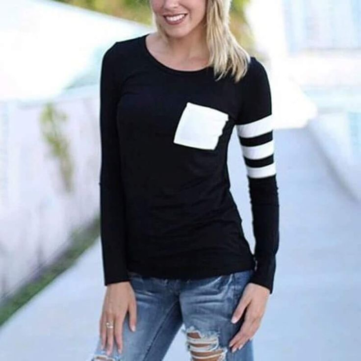 Casual Black Full Sleeve Top With Anterior Pocket
