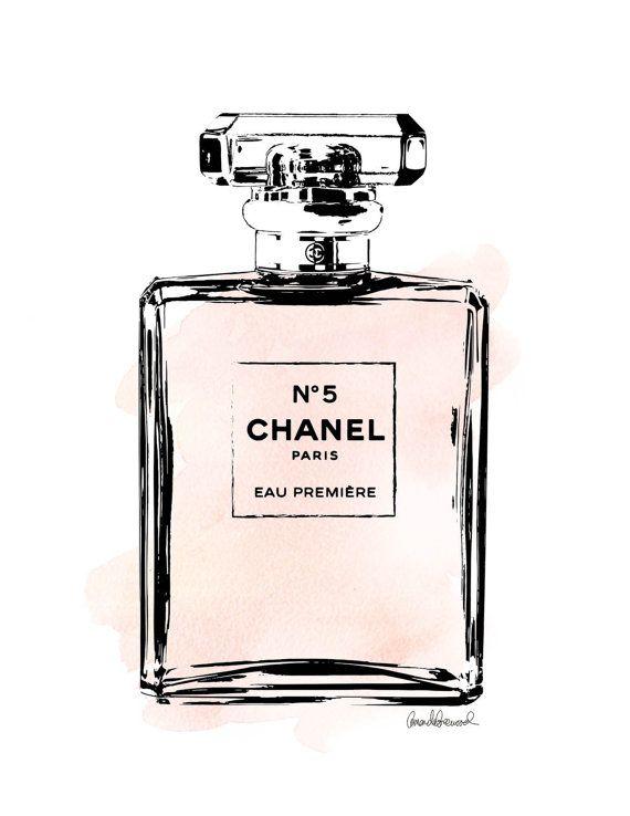 Chanel No.5 watercolor Blush PRINTABLE A4 par hellomrmoon sur Etsy