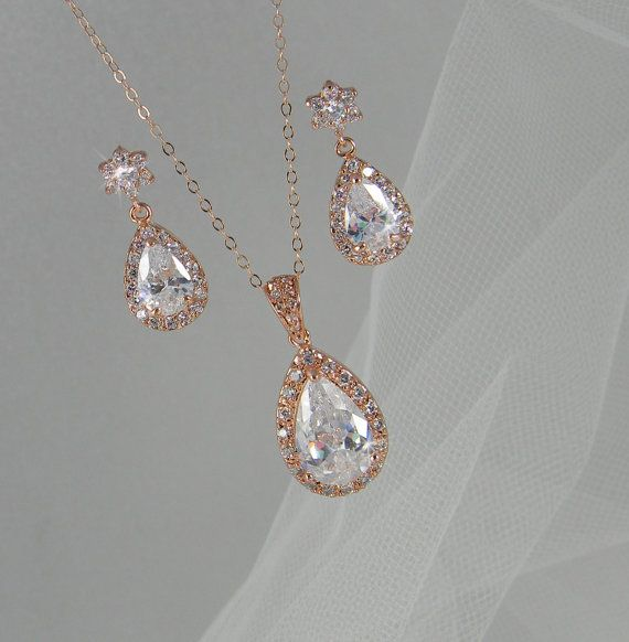 rose gold bridal set bridesmaids jewelry set crystal pendant and earrings wedding jewellery ariel rose gold bridal jewelry set