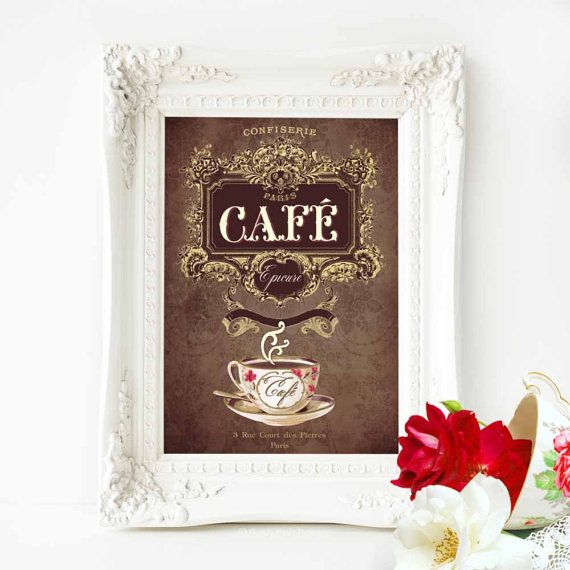 French vintage Cafe kitchen decor print in by MulberryslittleMuse